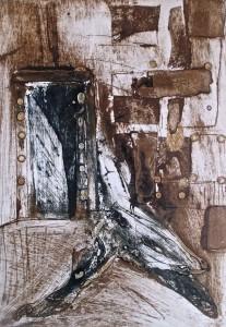 4. I and my space- Io e i miei spazi, collagraph stampato su carta, 35x24 cm, 2014 quadri Alessandro