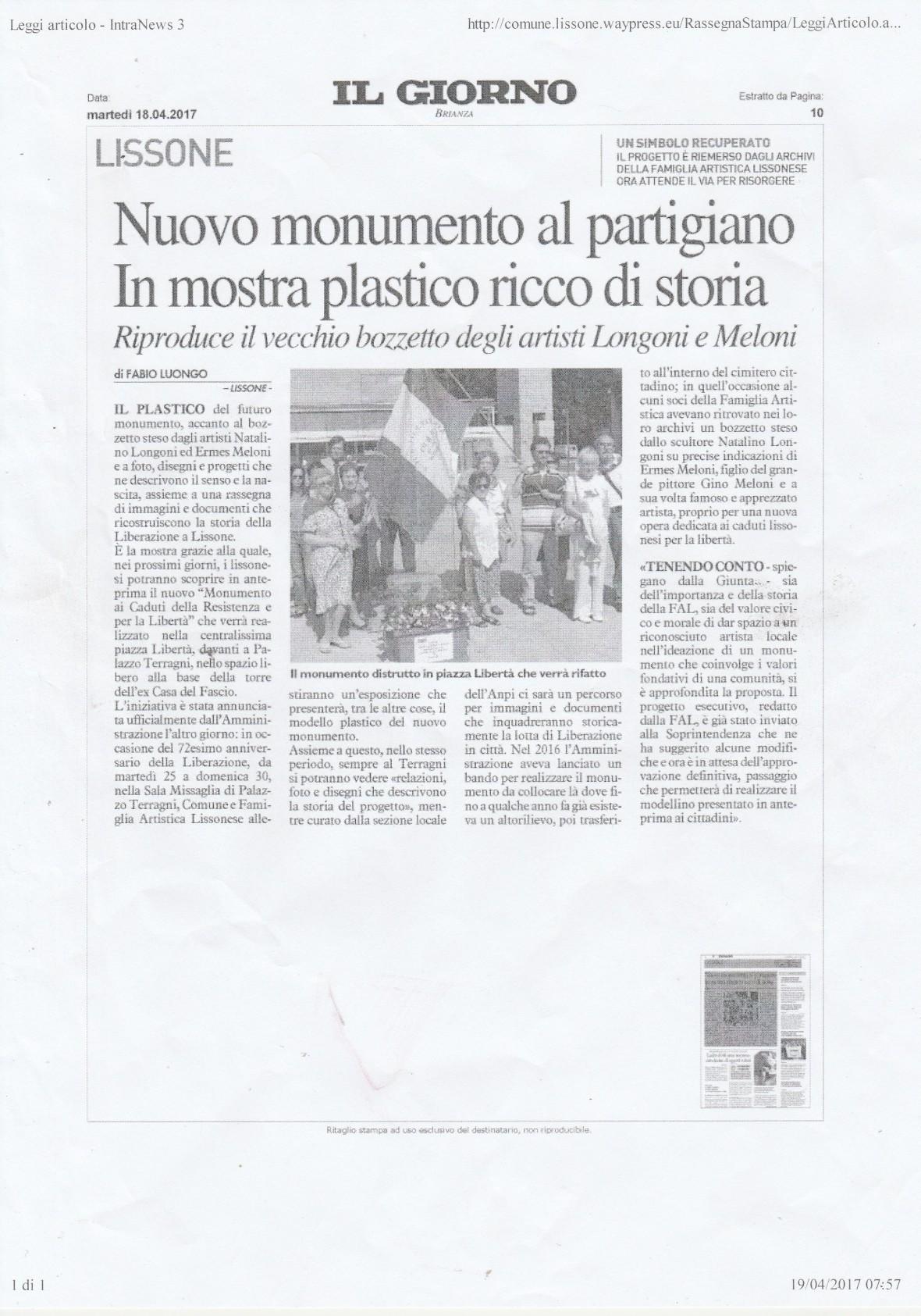 ARTICOLO FAL-MONUMENTO SU IL GIORNO